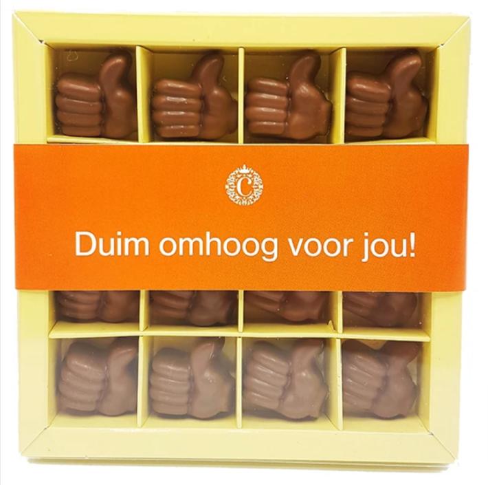 Chocoladeduimpjes-Duim-omhoog-voor-jou-Brievenbuspost-Brievenbuscadeau-Pakketzenden.nl-Thuiswerken-Verrassing-Medewerkers